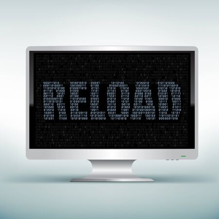 programming code: The programming reload code on white computer monitor with black screen background