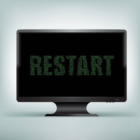 programming code: The programming restart code on black computer monitor with black screen background