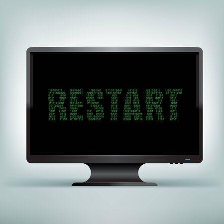 program: The programming restart code on black computer monitor with black screen background