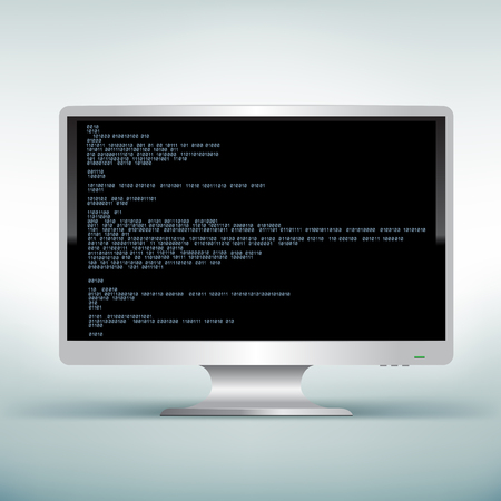 programming code: The programming blue code on white computer monitor with black screen background Illustration
