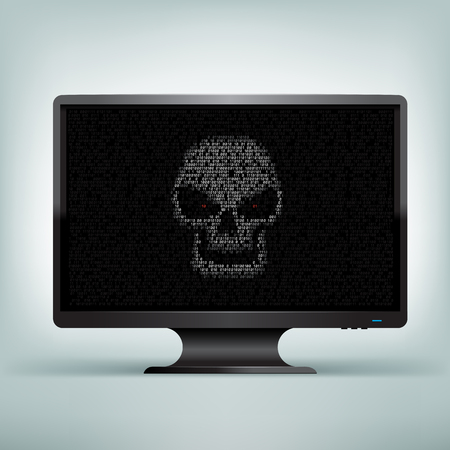 hex: Programming code shows hacker skull with red eyes on black computer monitor on light mesh background. The computer was hacked Illustration