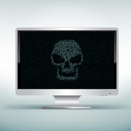 programming code: Programming blue code shows hacker skull on white computer monitor on light mesh background. Hacked computer Illustration