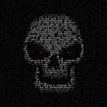 programming code: Programming code shows white hacker skull with red eyes on black screen background. Computer was hacked