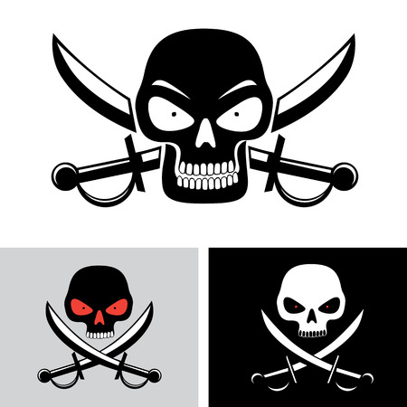 red eyes: Simple illustration of pirate skull with red eyes and sabers. Pirate, piracy symbol Illustration
