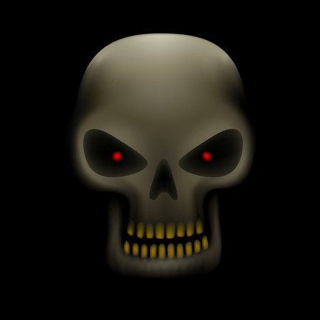 red eyes: Realistic illustration of human skull with red eyes and yellow teeth on dark background Illustration
