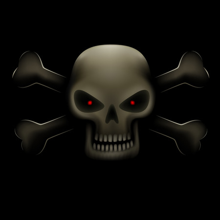 red eyes: Realistic illustration of angry evil skull with red eyes and bones on dark background. Toxic symbol, poison sign
