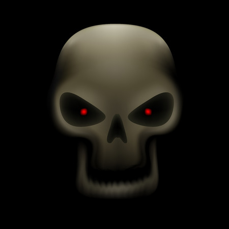 bane: Realistic illustration of human skull with red eyes and no teeth on dark background