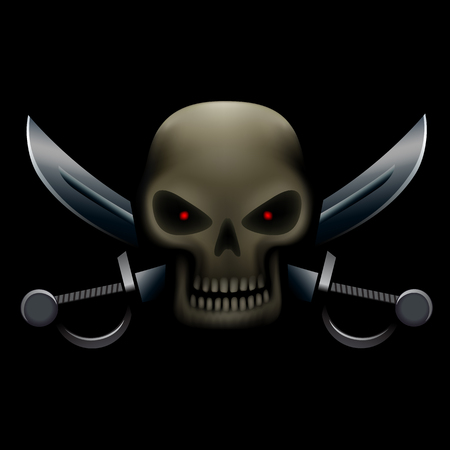 red eyes: Realistic illustration of pirate skull with red eyes and sabers on background. Pirate sign, piracy symbol Illustration