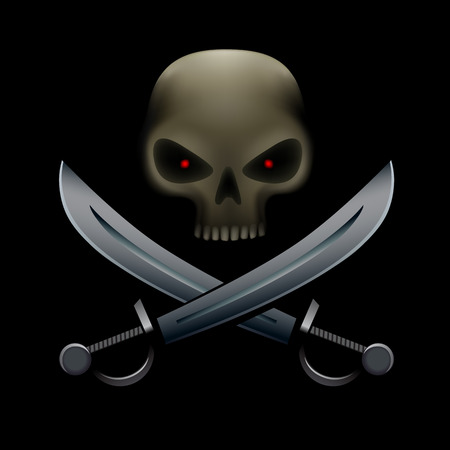 saber tooth: Realistic illustration of pirate skull with red eyes and on sabers and bottom. Pirate sign, piracy symbol