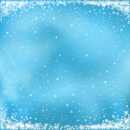 Christmas and winter clipart. The falling white snow on blue background. Easy to edit