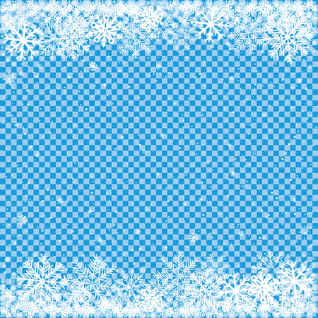 Christmas and winter clipart. The falling white snow on transparent blue background. Easy to edit