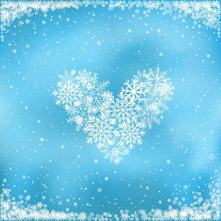 Love Christmas. The falling white snow makes the heart on blue background. Winter clipart Illustration