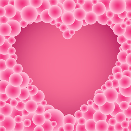 cartoon bubble: The beautiful simple many buble gradient circles pink heart. Backdrop for love romantic quotes
