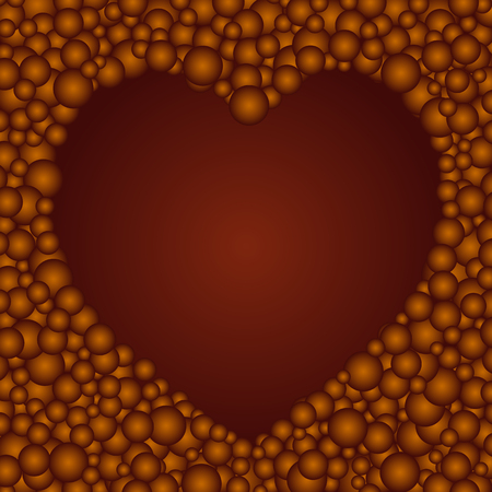 The beautiful simple brown chocolate circles heart hole background