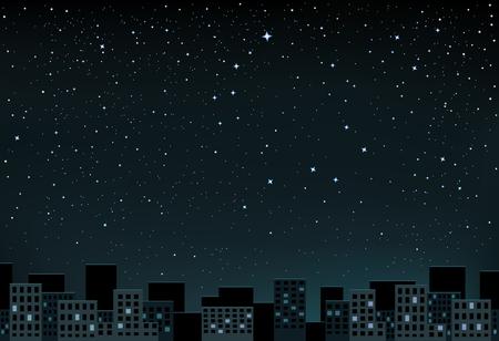 La noche de la ciudad y el espacio con estrellas que muestran un poco y la Osa Mayor Ilustración de vector