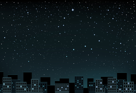 The night city and space with stars that show a little and the Big Dipper Illustration
