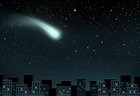the end of the world: The large shining comet on stars background falling over the night city