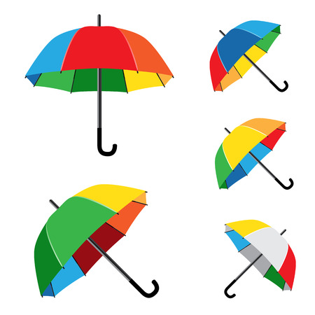 disclosed: The simple different opened rainbow umbrellas isolated on white background