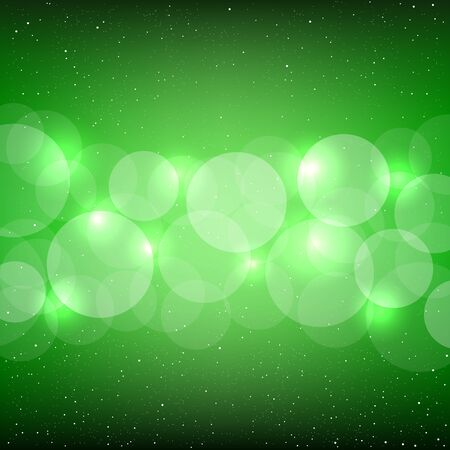 christmas backdrop: Green bokeh background with shine circles. Christmas and New Year backdrop Illustration