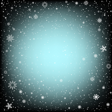 christmas backdrop: Winter black background with snow. Christmas and New Year backdrop