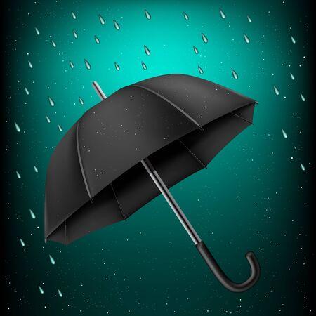 disclosed: The opened black umbrella on rainy azure background