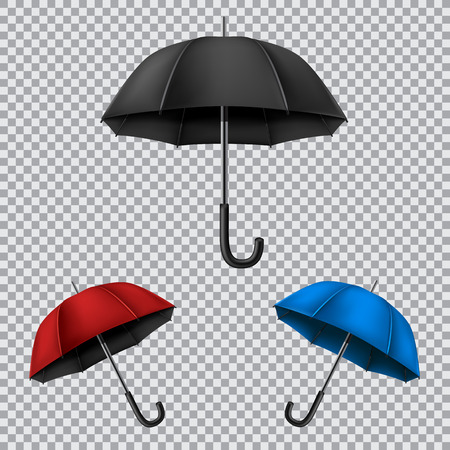 disclosed: The different umbrellas isolated on transparent background