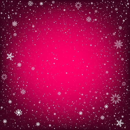 christmas backdrop: Winter pink background with snow. Christmas and New Year backdrop