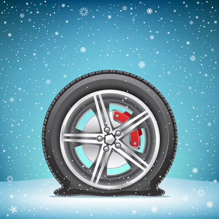 snow tires: The winter flat tire on blue snowy background. Wheel in the snow