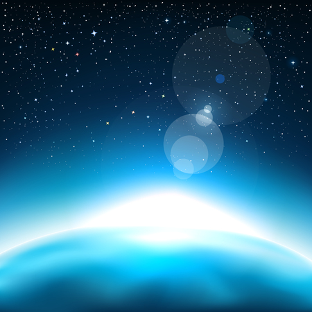 Star light and the blue planet. Stars and reflections of light on background. Space vector illustration