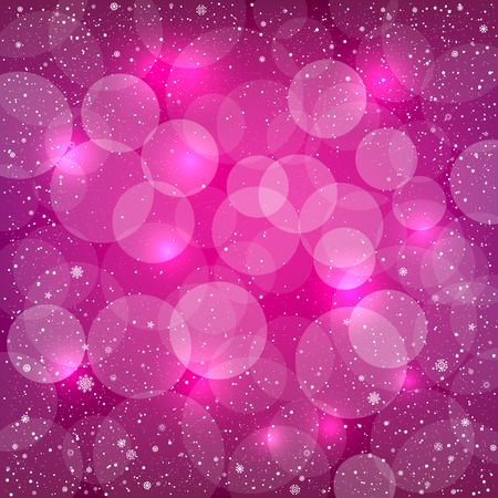 Holiday pink snow background with sparkle bokeh circles. Christmas and New Year backdrop