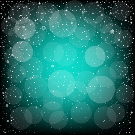 christmas backdrop: Winter azure bokeh background with snow. Christmas and New Year backdrop