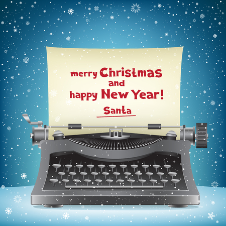 typewriter key: The typewriter on blue snow background and message from Santa Claus Merry Christmas and happy New Year Illustration