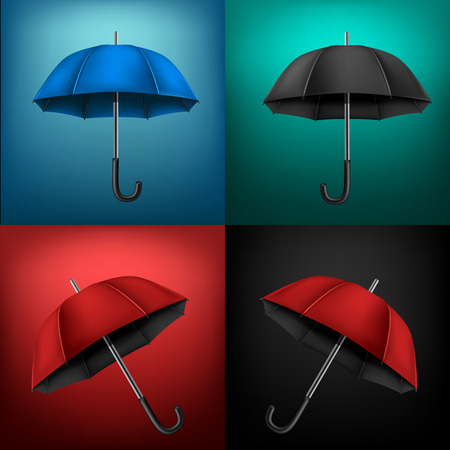 Collection of different umbrellas on colorful background. Protection from rain