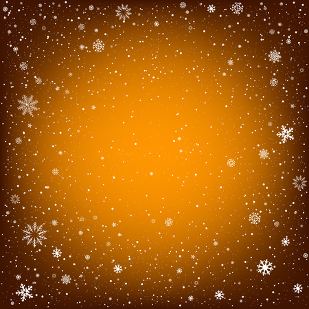christmas backdrop: Winter orange background with snow. Christmas and New Year backdrop
