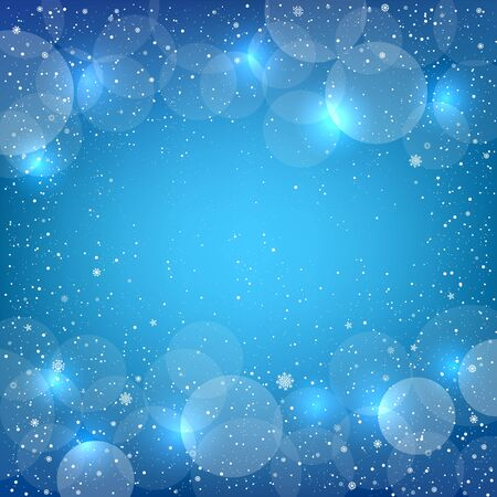 Holiday blue snow background with sparkle bokeh circles. Christmas and New Year backdrop