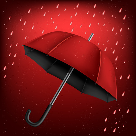 disclosed: The red and black umbrella on rainy background Illustration