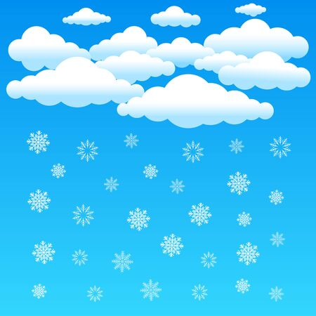 The cartoon clouds and snowflake falls on blue background. Winter time. Christmas and New Year eve