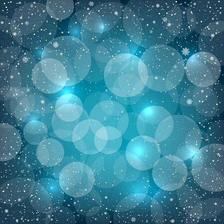 christmas backdrop: Blue bokeh snow background with sparkle circles. Christmas and New Year backdrop