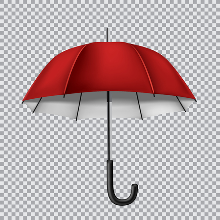 disclosed: The red opened umbrella isolated on transparent background Illustration