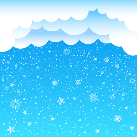 time of the year: The cartoon clouds and snow falls on blue background. Winter time. Christmas and New Year eve