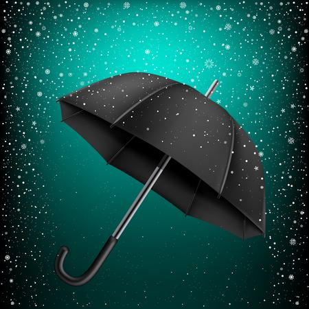 azure: Black umbrella on azure snow background. Christmas and New Year theme