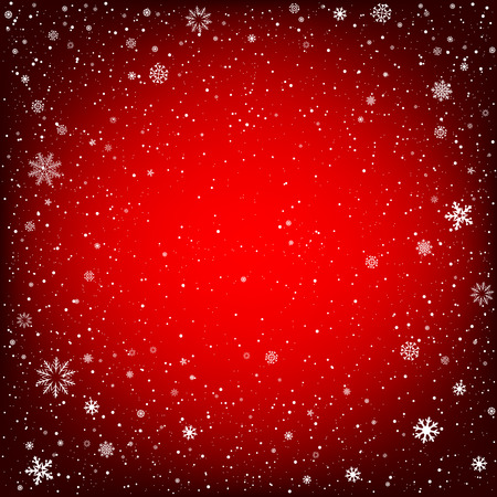 christmas backdrop: Winter red background with snow. Christmas and New Year backdrop Illustration