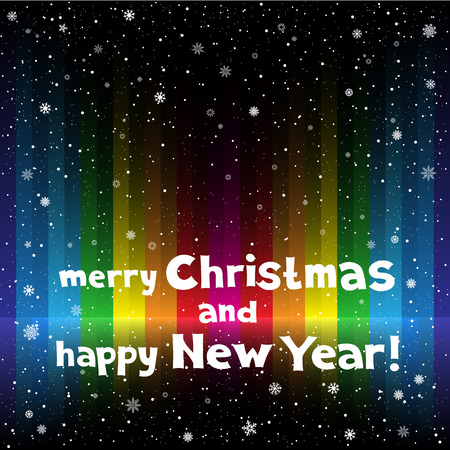 The holiday rainbow striped multicolored dark background with snow. Lettering Marry Christmas and Happy New Year