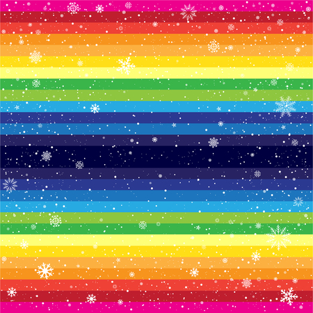 christmas backdrop: Rainbow horizontal striped snow background. Marry Christmas and Happy New Year multicolored backdrop