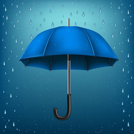 disclosed: The blue opened umbrella on rainy background