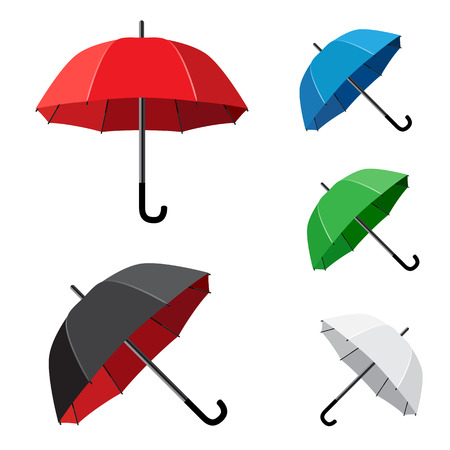 The simple different umbrellas isolated on white background