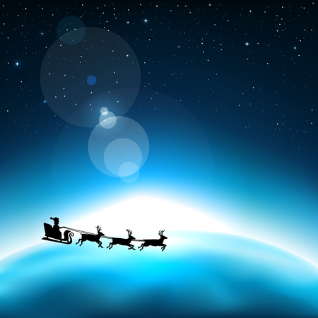 Santa Claus is flying in space on the background of the blue planet Earth. Stars and reflections of light on universe background Illustration