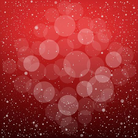 Winter red bokeh background with snow. Christmas and New Year backdrop Illustration