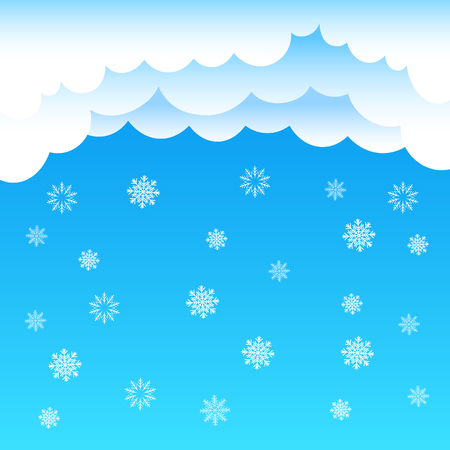 cartoon cloud: The cartoon cloud and snow falling on blue background. Winter time. Christmas and New Year eve