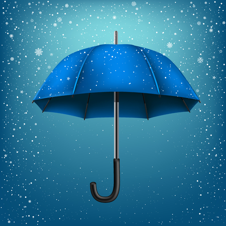 disclosed: Blue umbrella on blue snow background. Christmas and New Year theme Illustration